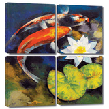 Koi Fish and Water Lily 4 piece gallery-wrapped canvas Prints by Michael Creese
