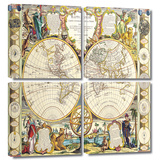 Mappe-Monde Carte Universelle de la Terre Dressee 4 piece gallery-wrapped canvas Posters by Samuel Dunn