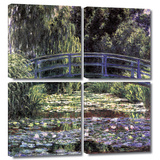 Bridge at Sea Rose Pond 4 piece gallery-wrapped canvas Poster by Claude Monet