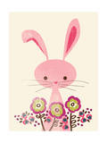 Bunny and Blooms Giclee Print