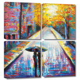 Paris Back Street Magic 4 piece gallery-wrapped canvas Prints by Susi Franco