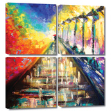 Rainy Paris Evening 4 piece gallery-wrapped canvas Posters by Susi Franco