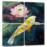 Koi and Lotus Flower 4 piece gallery-wrapped canvas Gallery Wrapped Canvas Set by Michael Creese