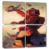 Robokong 4 piece gallery-wrapped canvas Print by Eric Joyner