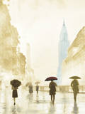 New York Red Umbrella - Golden Giclee Print by Robert Canady
