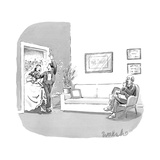 A couple who have just been married, walk through a door with confetti bei… - New Yorker Cartoon Premium Giclee Print by Liam Walsh