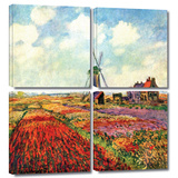 Windmill 4 piece gallery-wrapped canvas Poster by Claude Monet