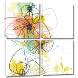 Orange Botanica 4 piece gallery-wrapped canvas Gallery Wrapped Canvas Set by Jan Weiss