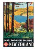 Marlborough Sounds, New Zealand Plakater af L. C. Mitchell
