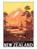 New Zealand, Mt. Egmont Plakater af L. C. Mitchell