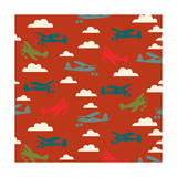 In Flight Airplane and Clouds Giclee Print