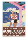 La Plage de Monte Carlo Beach Art by Alfred Tolmer