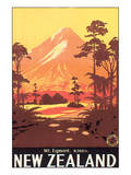 New Zealand, Mt. Egmont Art by L. C. Mitchell