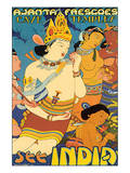 See India, Ajanta Frescoes, Cave Temples Prints
