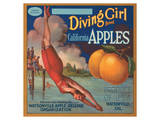 Diving Girl Brand California Apples Posters