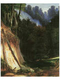 Forest Gorge with Deers Prints by Karl Blechen
