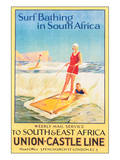 Surf Bathing in South Africa Poster