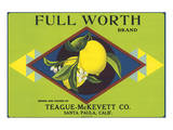 Full Worth Brand Citrus, California Posters