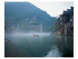 Thai Boating In Morning Mist Poster