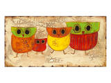 Owl Family II Art by Anne Hempel