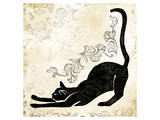 Stretching Burlap Cat Prints by Alan Hopfensperger