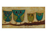 Turquoise Owl Family II Prints by Anne Hempel