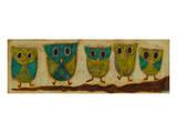 Turquoise Owl Family I Art by Anne Hempel