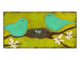 Turquoise Birds with Nest II Prints by Anne Hempel