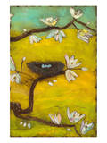 Magnolia Blossoms with Nest II Poster by Anne Hempel