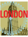 London Eye, Big Ben, Houses of Parliament Print