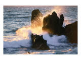 Waves Breaking On Shore Rocks Posters