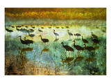 Cranes in Mist I Poster by Chris Vest