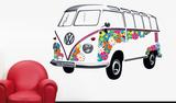 VW Camper - Samba Bus 1962 Flower Muursticker