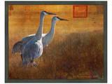 Walking Cranes Poster von Chris Vest