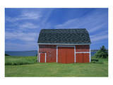 Red Barn by the Sea Poster by Mike Grandmaison