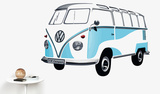 VW Camper - Samba Bus 1962 Blue Autocollant mural