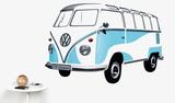 VW Camper - Samba Bus 1962 Blue Wandtattoo