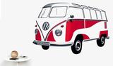 VW Camper - Samba Bus 1962 Red Wandtattoo
