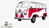 VW Camper - Samba Bus 1962 Red Seinätarra