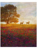 Trees, Poppies and Deer IV Poster by Chris Vest