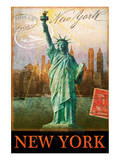 New York, Statue of Liberty, Manhattan Poster by Chris Vest