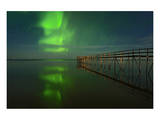 Northern Lights Reflected in Lake Winnipeg III Posters by Mike Grandmaison