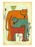 Cats and Tulips Prints by Penny Keenan