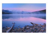 Fog at Dawn at Patricia Lake Posters by Mike Grandmaison