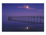 Pier and Moon at Dusk Prints by Mike Grandmaison