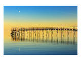 Pier and Moon at Sunset Prints by Mike Grandmaison