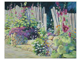 Hollyhock Garden Art by Julie Pollard