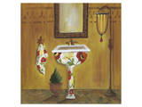 Tuscan Tub in Poppies II Prints by Cathy Hartgraves