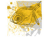 Yellow Fish Prints by Irena Orlov