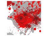 Grey-Red Fish Print by Irena Orlov